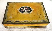 Vtg National Biscuit Company Nbc Uneeda Metal Tin Box With Flower Design Yelllow