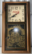 """Vintage Coca Cola Clock W/ Glass Country Store Art Work 26"""" Tall"""