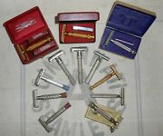 12 All Gillette Safety Razors 1930's-60's Comb Blue Red Tip Adj Tech Aristocrat