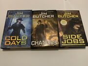 Lot Of 3 Jim Butcher Dresden Files Hardcover-changes, Side Jobs And Changes