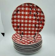 8pc Set Pier 1 Imports Red/white Gingham Check Ants Farm Picnic Snack Plates
