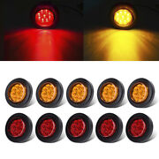 10xamber+red 2 Round Clear Side Marker Light 9led Reflectors Trailer Truck Rv