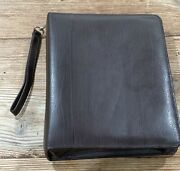 Franklin Covey Brown Leather Classic 7 Ring Planner Binder Zipper Closure