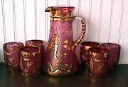 Eapg Delaware Rose Stain W/gold 7 Pc Water Set Us Glass 1899-1909 B44-g
