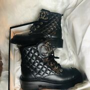 Black Leather Combat Boots Sz 35 Quilted Lace Brooch Gold Lace Up