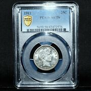 1911-p Barber Quarter ✪ Ngc Au-58 ✪ 25c Silver Almost Uncirculated ◢trusted◣