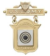 Us Army Distinguished Rifleman Marksman Badge In Gold Usa Made