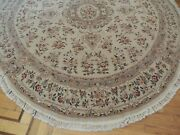 8x8 Round Tabrize Area Rug Wool Silk Hand-knotted Beige Green Rust Salmon