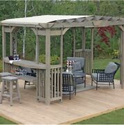 Charleston 14andrsquo X 10andrsquo Pergola With Sunshade With Bar And Shelf - Timber Grey