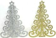 Christmas Trees Decorations Set Of 2 Glittered Silver And Gold 11