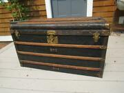 Antique Signed Goyard Steamer Trunk With Brass Handles And Locks