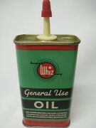 Vtg Whiz General Use Oil 4 Oz Handy Oiler Tin Can Hollingshead Partial Contents