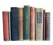 Lot Of 9 Large Antique /vintage Books Home Office Library Farmhouse Decor