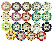 New 800 Monte Carlo Smooth 14 Gram Clay Poker Chips Bulk - Pick Your Chips