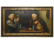 Late 19th-early 20th C European Antique O/b 2 Monks In Pub Drinking Beer Unsgnd