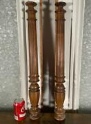 Pair Of 26 French Antique Solid Walnut Wood Posts/pillars/columns