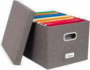 Collapsible File Box Storage Organizer With Lid - Decorative Linen Filing And Stor