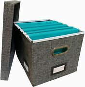Collapsible File Box Storage Organizer With Lid - Decorative Linen Hanging File