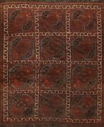 Antique Geometric Balouch Afghan Oriental Area Rug Hand-knotted Wool Carpet 6x7