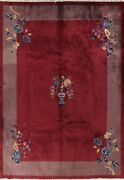 Vintage Floral Art Deco Chinese Area Rug Hand-knotted Wool Home Decor 9x12 Ft