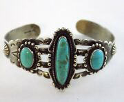 Southwestern Bell Trading Post Sterling Silver Turquoise Cuff Bracelet 925 21.2g