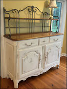 Ethan Allen Country French Legacy Iron Bakerandrsquos Rack Sideboard Ivory Floral