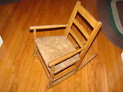 Childand039s Rush Bottom Seat Vintage Rocking Chair Rocker Old With Great Patina