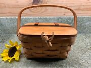 Longaberger Small Purse Basket W/ Leather Hinged Lid And Toggle Closure - 1993