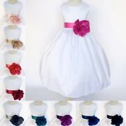Country Chic White Shantung Flower Girl Gown Wedding Communion Baptism 2 4 6 8