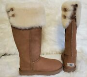 Ugg Chestnut Over The Knee Bailey Button 1007536 Sheepskin Boots Women's Size 7
