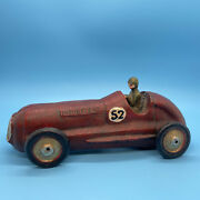 Vintage Antique Cast Iron Race Car 52 Red Toy Moveable With Driver 7 Number 52