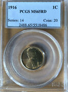 1916 1c Pcgs Ms65rd Lincoln Wheat Small Cents One Penny Cent Coin 💎