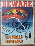 Canadian Wwii Poster Beware The Walls Have Ears Original Antique By Jac Leonard