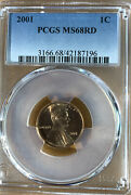 2001 P Lincoln Memorial Cent Penny Pcgs Ms 68 Rd
