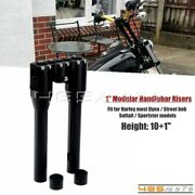 1 Black Motorcycle Handlebar Risers 10and039and039 With One Piece Top Clamp For Harley