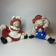 Raggedy Ann And Andy Hand Painted Ceramic Dolls 1973 Byron Mold L.d.