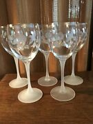 Lot Of 5 Avon Crystal Etched Hummingbird Water Goblets Frosted Stems 8 1/4