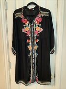 Johnny Was Button-front Collared Black Dress Embroidered Floral Sheer Womenand039s Xl