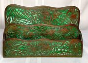 Studios, Pine Needle, 2 Compartment Letter Rack, Green Glass, Patina