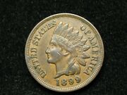 Summer Sale Au 1899 Indian Head Cent Penny W/ Full Liberty And Diamonds 170w
