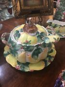 Fitz And Floyd Woodland Partridge And Holiday Pear Tureen W/platter And Ladle