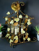 Vintage French Caged Metal Yellow Rose Porcelain Flowers Chandelier Lamp Rare