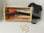 Vtg 50s Rayline The Pursuer Toy Rifle Wanted Dead Or Alive Mares Leg Box Holster