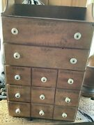 Antique Spice Cabinet 11 Drawer Original Porcelain Knobs All Drawers Are Stamped