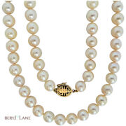 Vintage Mid-century 8mm - 8.5mm Akoya Pearl Necklace W 14k Gold Clasp Long 30