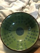 Ref 003 Chinese Calligraphy Celadon Bowl Xuande Ming Dynasty Mark To Base