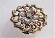 Antique Victorian Rare Real Saphiret Brooch Heart Shapes Rhinestone Gold Filled