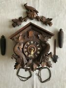 1900and039s Rare Signed Carved Antique Cuckoo Clock American Cuckoo Clock Co. Philly