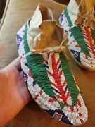 Early Plains Sioux Indian Native American Beaded Moccasins Beads Antique W/sinew