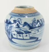 Antique Chinese Chinoiserie Canton Underglaze Blue And White Ginger Jar